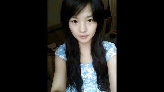 Cute chinese teen dancing on webcam