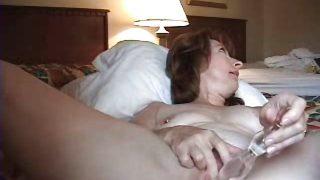 Horny mature wife anal masturbating