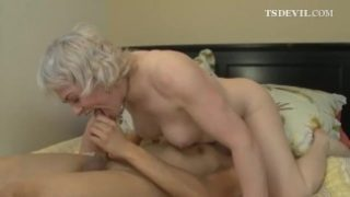 Shemale granny gets hardcore anal