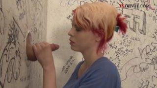 Teen punk shemale gives gloryhole blowjob